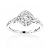 Luxurman Affordable Diamond Cluster Rings: Ladies Engagement Ring 14k Gold