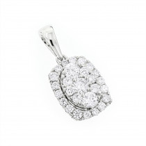Luxurman Cluster Oval Diamond Pendant for Women 14K Gold 0.89ct G-H VS-SI