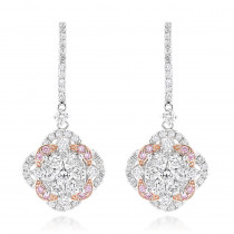 Luxurman Designer Flower Cluster Diamond Earrings for Women 2.4ct 14K Gold