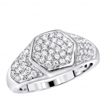 Luxurman Diamond Rings 10k Gold Diamond Ring For Men 1.1ct Octagonal Shape