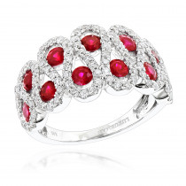 Luxurman Diamonds and Ruby Ladies Cocktail Ring in 14k Gold 1ct