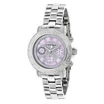 Luxurman Ladies Diamond Watch 0.3ct Pink MOP Oversized Womens Watch