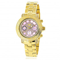 Luxurman Ladies Diamond Watch 0.3ct Pink MOP Yellow Gold Plated