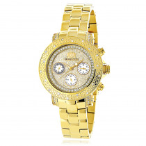 Luxurman Ladies Diamond Watch 0.3ct Yellow Gold Plated