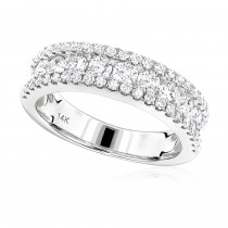 Luxurman Ladies Rings: 14K Gold Round Diamond Wedding Band for Women 1.65ct