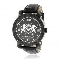 Luxurman Large Watches Black Diamond Watch for Men with Leather Band 0.12ct