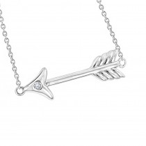 Luxurman Love Quotes Necklaces Sterling Silver Diamond Arrow Pendant