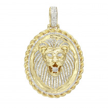 LUXURMAN Medallion 14K Gold Real Diamond Lions Head Pendant  1ct