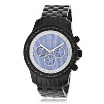 Luxurman Mens Black Diamond Watch 2.25ct Blue MOP