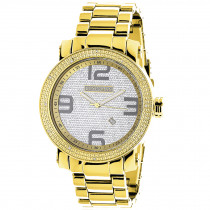 Luxurman Mens Diamond Watch Yellow Gold Plated 0.12ct