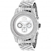 Luxurman Mens Diamond Watch 0.50 ct White Mop