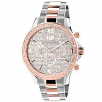 Luxurman Mens Diamond Watch Two-Tone White Rose Gold Pltd Liberty Swiss Mvt