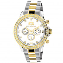 Luxurman Mens Diamond Watches Yellow White Gold Plated Swiss Quartz Liberty