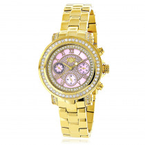 Luxurman Montana Ladies Diamond Watch 2ct Yellow Gold Plated Pink MOP