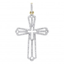 Luxurman Pendants: Diamond Cross Necklace for Women in 14k Gold 0.4ct