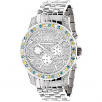 Luxurman Raptor Unique Mens Multicolor Diamond Watch 3.75ct
