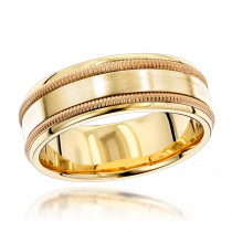 Luxurman Rings: Braided Solid 14k Gold Comfort Fit Wedding Band Engravable