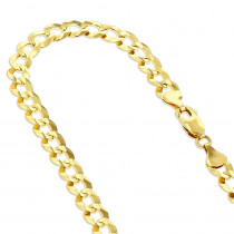 LUXURMAN Solid 10k Gold Curb Chain For Men & Women Comfort 3mm Wide