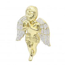 Luxurman Solid 10k Gold Real Diamond Praying Baby Angel Pendant for Men 0.9