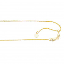 LUXURMAN Solid 10k Gold Wheat Chain For Women Round Adjustable 1mm