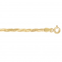 LUXURMAN Solid 14k Gold Braided Chain For Women 2.2mm Wide