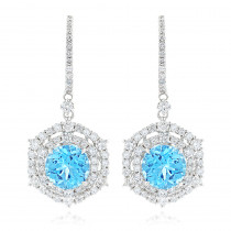 Luxurman Unique Blue Topaz Diamond Drop Earrings for Women in 14k Gold