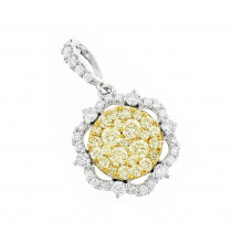 Luxurman Unique Ladies Yellow  White Diamond Flower Pendant 14K Gold 1.75ct