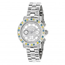 Luxurman Watches: Ladies White Yellow Blue Diamonds Watch 2.75ct
