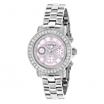 Luxurman Watches: Ladies Diamond Watch 3ct Pink