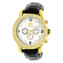 Luxurman Watches Mens Diamond Watch 0.25ct Yellow