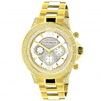 Luxurman Watches: Mens Diamond Watch 0.5ct Yellow Gold Plated