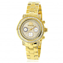 Luxurman Watches: Womens Diamond Yellow Gold Plated Montana Watch 2ct