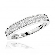 Luxurman Wedding Rings: 1 Carat  Princess Cut Diamond Wedding Band 14K Gold