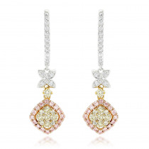 Luxurman White Yellow Pink Diamond Drop Earrings for Women 1.4ct 14K Gold