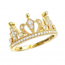 Luxurman Womens Rings 14k Gold Queen Crown Ring With Diamonds 0.35ct