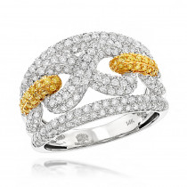 Luxurman Womens White & Yellow Diamonds Infinity Cocktail Ring 14K Gold 2ct