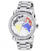 Luxurman World Map Mens Diamond Watch 0.12ct