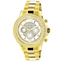 Luxurman Yellow Gold Tone Mens Diamond Watch 0.2ct Swiss Quartz Metal Band