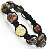Marble Bead Unique Disco Ball Bracelet with Yellow Crystals