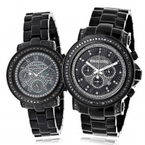Matching His and Hers Watches: Black Diamond Watch Set by Luxurman 5.15ct