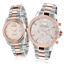 Matching His and Hers Watches: Luxurman Rose Gold Diamond Watch Set 1.7ct