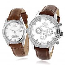 Matching His and Hers Watches Luxurman White Gold Plated Diamond Watches