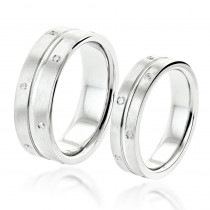 Matching His and Hers Wedding Band Comfort Fit Set 14K gold 0.3ct