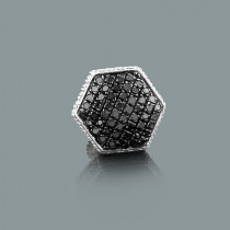 Mens 1 Silver Black Diamond Earring 0.33ct Single Stud
