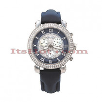 Mens Benny and Company Watch Ice Dial 2.9ct Mens Navy