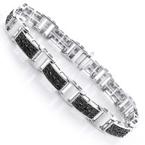 Mens Black Diamond Bracelet 0.3ct Sterling Silver
