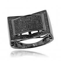 Mens Black Diamond Ring 0.55ct 10K Gold