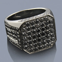 Mens Black Diamond Ring 14K Gold 4.98ct