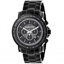 Mens Black Diamond Watch by Luxurman 3ct Chronograph Oversized
