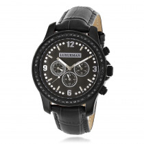 Mens Black Diamond Watch by LUXURMAN Raptor 2.25ct  MOP and Leather  Band